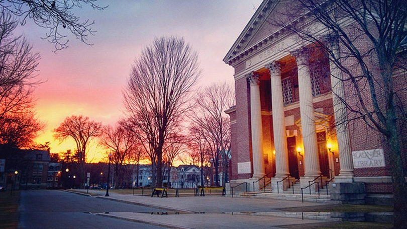 Baker Library during sunset.