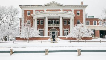 The Collis Student Center covered in snow.