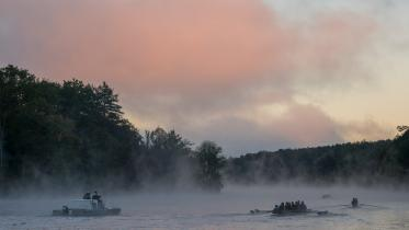 Fog on the Connecticut River during crew team practice.