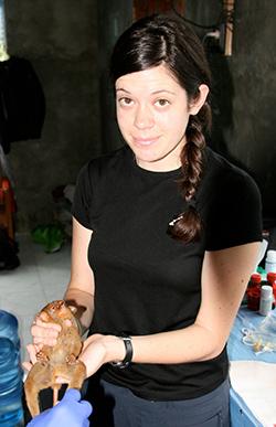 Gillian Moritz holding a Tarsier.