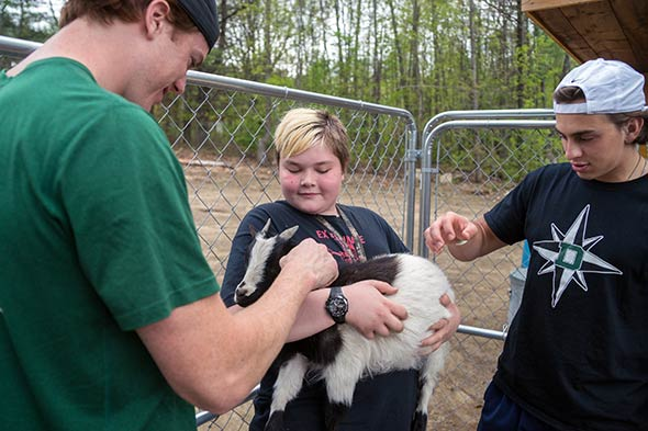 An Orion House resident (center) shows football players Ed von Kuhn '14 (left) and Ryan McManus '15 (right) one of the facility's goats. (Photo by Eli Burakian '00)