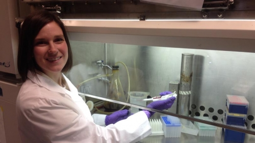 GRAD Alumni Research Award Recipient Megan O'Connnor in her Lab