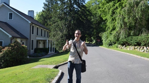Liviu Cengher Alumni Research Recipient at Dartmouth in front of Cold Springs Laboratory
