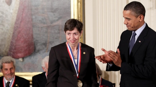 Marye Anne Fox, University of California San Diego, received the 2009 National Medal of Science medal from President Barack Obama on Nov. 17, 2010. (AP photograph)