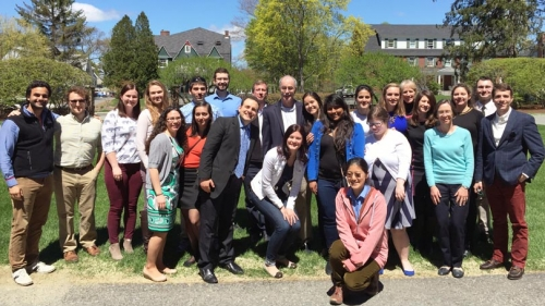 graduate student leaders posed for a group photo with president phil hanlon and gail gentes