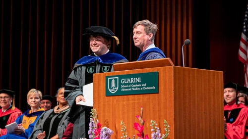 Balint Kacsoh from the molecular and cellular biology program receives Croasdale award from Dean Kull