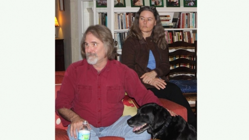 Dave Montgomery, his wife Anne Bikle and their black lab Loki at the recent grad lunch