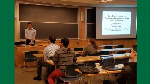 Professor of Government, Brendan Nyhan, talks to participants