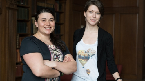 Aylin Woodward '15, left, and Nina Maksimova '15, NSF fellowship winners