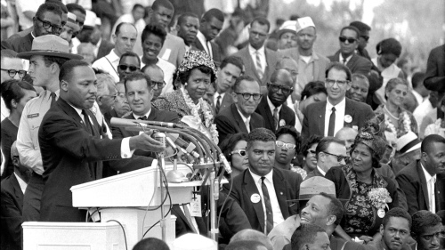 """The Rev. Dr. Martin Luther King Jr., head of the Southern Christian Leadership Conference, speaks to thousands during his """"I Have a Dream"""" speech in front of the Lincoln Memorial for the March on Washington for Jobs and Freedom in Washington on Aug. 28, 1"""