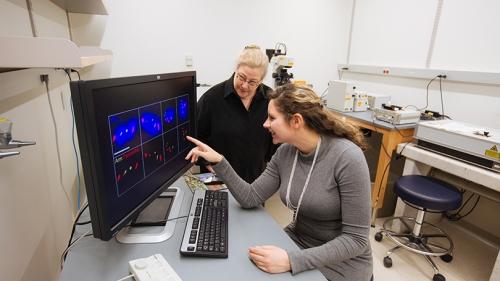 Associate Professor Sharon Bickel, left, and graduate student Adrienne Perkins