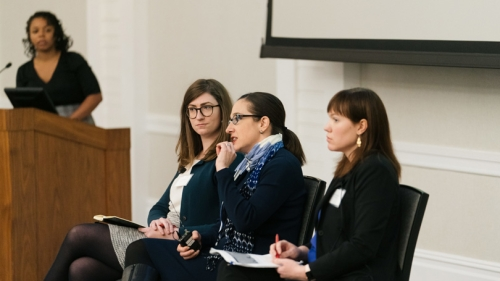 Representatives of the National Academies of Sciences, Engineering, and Medicine (NASEM) Arielle Baker, Guarini '19 (seated, left), Lilia Cortina, and Frazier Benya answer questions on the NASEM report on sexual harassment in a session moderated by C3I Di