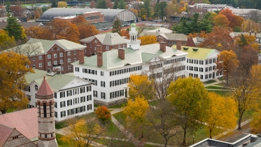 an aerial view of the Green in fall