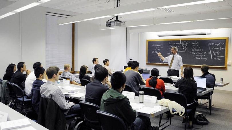 Professor Oiver Goodenough teaches Thayer School graduate students