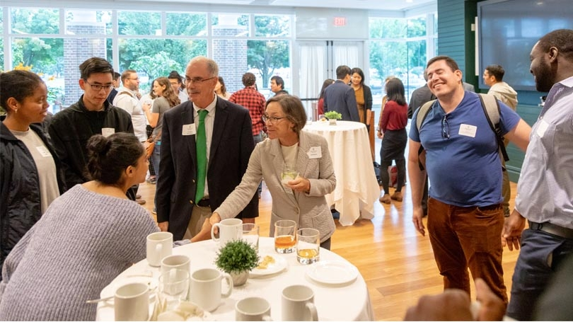 President Phil Hanlon '78 and Gail Gentes met new students and postdocs joining the Guarini School of Graduate and Advanced Studies this Fall