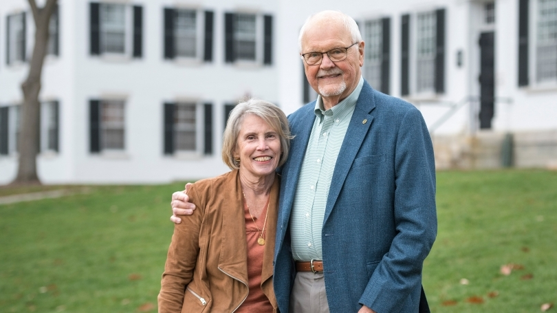 former dartmouth president James wright and wife Susan debevoise