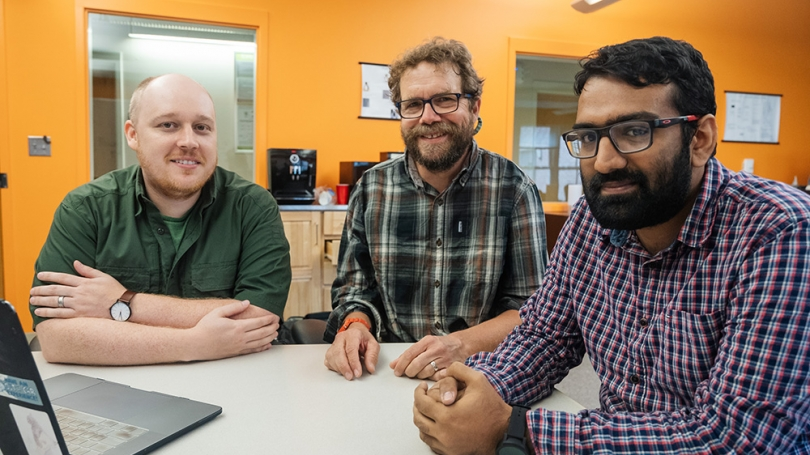 Dartmouth graduate students Ira Ray Jenkins, left, and Prashant Anantharaman, right, developed security hardware with support from Professor Sean Smith.