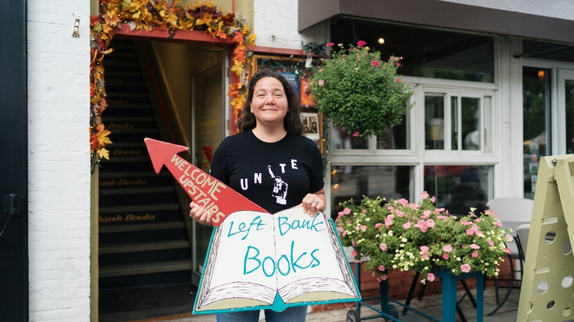 Rena Mosteirin '05 is the new owner of Left Bank Books in Hanover.