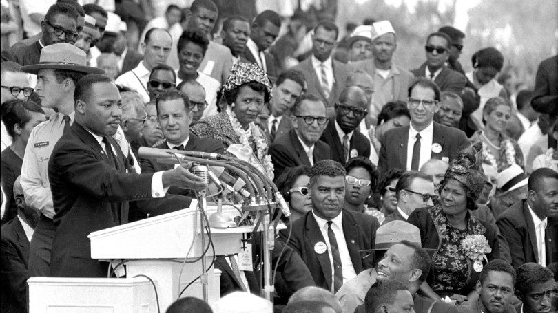 "The Rev. Dr. Martin Luther King Jr., head of the Southern Christian Leadership Conference, speaks to thousands during his ""I Have a Dream"" speech in front of the Lincoln Memorial for the March on Washington for Jobs and Freedom in Washington on Aug. 28, 1"